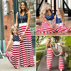 USA Fourth of July Mother Daughter Matching Clothes Mom Girls Long Maxi Dress