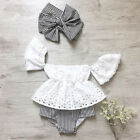girl baby girl - USA Toddler Baby Girl Lace Off Shoulder Top Stripe Shorts 3Pcs Outfits Sunsuit