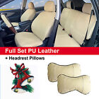 Tan Synthetic Leather Full Car Seat Cushion Covers Front Rear Auto w 2 Pillows $64.95 USD on eBay