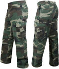 Woodland Camo Vintage Cargo BDU Pants Relaxed Flat Front Tactical Army Fatigues