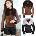 New Women's Faux Fur One Piece Leather Winter Coat Turn Down Collar SA88