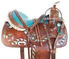 14 15 COWGIRL UP MEDIUM GENUINE LEATHER WESTERN FLORAL HORSE SADDLE TACK SET