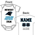PERSONALIZED CAROLINA PANTHERS FAN BABY GERBER ONESIE OPTIONAL SOCKS GIFT