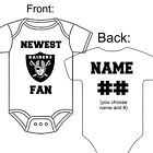 PERSONALIZED OAKLAND RAIDERS FOOTBALL FAN BABY GERBER ONESIE OPTIONAL SOCKS GIFT $22.99 USD on eBay