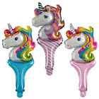 10XHandheld stick Unicorn Foil Balloons Kids Toys Gifts Birthday Party Supply FO