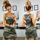 Women's Sleeveless Camouflage Bandage Bodycon Club Party Cocktail Mini Dresses