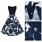 Big Flower Evening Dress Vintage Lady Dress Sleeveless Women Expansion Dress LS