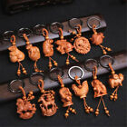 3D Cute Peach Wood Carving Twelve Chinese Zodiac Animal Statue Key Chain Pendant