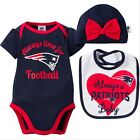 New England Patriots NFL Infant/Baby Girls' 3-Piece Bodysuit,Cap & Bib Set: 0-6m