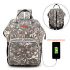 Mummy Bag w- USB Port Baby Diaper Nappy Backpack Large Capacity Travel Baby Bag