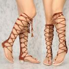 Chestnut Open toe Lace up Mid Calf Knee High Boots Sandals Flat Gladiator G12
