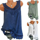 Plus Size Women Summer Lace Vest Top Sleeveless Blouse Casual Tank Tops T-Shirt