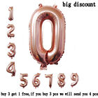 """16"""" Rose Gold 0-9 Number Foil Helium Balloons Birthday Wedding Party Toy Decor"""