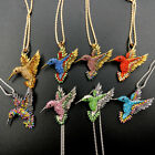 Fashion Jewelry Rhinestone Lovely Humming Bird Pendant Chain Necklace/Brooch Pin
