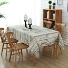 Retro Wood Grain Style Cotton Linen Rectangle Flax Tea Table Cloth Dining Decor