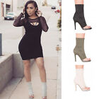 Ladies Women Ankle Boots Clear Perspex High Heel Peep Toe Zip Casual Shoes 3-9