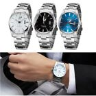 Mens Watches Stainless Steel Date Analog Quartz Army Silver Black Wrist Watch UK