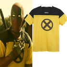 2018 Movie Deadpool 2 Yellow Summer Short Sleeve T-Shirt Tee Men Cosplay Costume