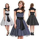 BP Polka Dots Hollowed Large Bow-Knot Retro Vintage Style Party Picnic Dress