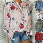 Womens Blouse Loose Tee Ladies Long Sleeve Sweatshirt Pastel Pocket Tops Vneck