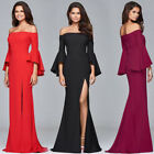 sexy black formal gowns - Women Horn Sleeve Long Sleeve Sexy Slim Off Shoulder Party Formal Gown Dress