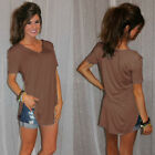 Women's V-Neck Loose Short Sleeve Tunic Top Lady A-Line T-Shirt Blouse Plus Size