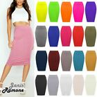 Womens High Waisted Plain Jersey Summer Bodycon Tube Stretch Pencil Midi Skirt