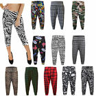 Womens Ladies ¾ Alibaba Printed Harem Cropped Trousers Pants Leggings Size 8-26