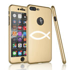 For iPhone 360° Thin Slim Case Cover Tempered Glass Screen Christian Fish Symbol