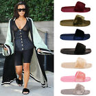 Ladies Womens Slip On Fur Summer Holiday Beach Sliders Flats Flip Flop Shoes 3-8