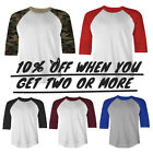 MEN CASUAL RAGLAN T SHIRT BASEBALL TEE 3/4 SLEEVE SHIRTS ACTIVE PLAIN CAMO TEE image