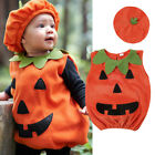 US Cosplay Halloween Baby Kid Pumpkin Suit Top Blouse Dress+Hat Clothes Costumes