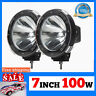 "1 Pair 7"" inch 12V 100W WATT HID Driving Lights XENON Spotlights for Offroad LU"