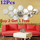 12pcs/set Removable Wall Sticker 3d Mirror Hexagon Acrylic Decal Diy Home Decor