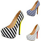 Women's Blue and White Stripe Hidden Platform High Heel Stiletto Shoes