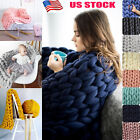 US Merino Yarn Chunky Knit Blanket Chunky Arm Knit Throw Knitted Blanket Mat New image