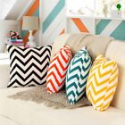 "Striped Chevron CUSHION COVER 100% Cotton Pillows Case Zig Zag Wave 18""X18"""