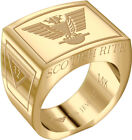 Mens Scottish Rite 14k Yellow or White Gold Freemason Masonic Ring Sizes 8 to 14