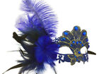 Blue Purple Brocade Lace feather costume Party Flapper Masquerade Ball Mask NEW