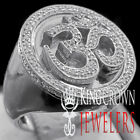 Mens Real Genuine Diamond Hindu Symbol OM Pinky Band 10K White Gold Finish Ring