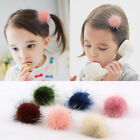 2pcs Cute Real Mink Fur Pom Pom Hair Clip Pin Barrette for Girl