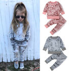 Fashion Toddler Kids Baby Girls Velvet Top Sweatshirt Pants Outfits Clothes US