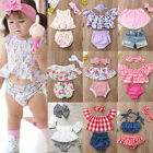 Newborn Kid Baby Girl Off Shoulder Lace Floral Tops Shorts Dress 3Pcs Outfit Set