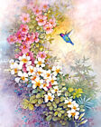 Humming Birds & Flowerw - Original watercolor painting giclee print