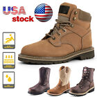 Mens Rugged Blue Logger Boot Steel Toe Work Boots