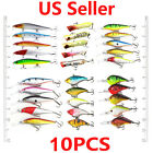 USA 5/10PCS Kinds of Fishing Lures Crankbait Hooks Hard Bass Minnow Baits Tackle