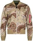 ALPHA INDUSTRIES MA-1 DOUBLE CAMO CHOCOLATE CHIP BLOOD CHIT FLIGHT JACKET S M
