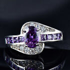 White Gold Filled Womens Oval Cut Purple Amethyst CZ Rings Wedding Jewelry Gifts