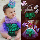US Baby Girls Kids Mermaid Bikini Swimwear Swimsuit Bathing Beachwear Costume