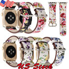 US Bracelet Floral Flower Leather Strap Wrist Band 38mm 42mm For Apple Watch image